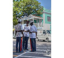 Police Officers on Bay Street in Downtown Nassau, The Bahamas Photographic Print