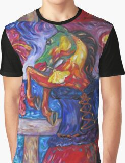Horse in Blue Corset Graphic T-Shirt