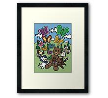 Teddy Bear And Bunny - Nervous Framed Print