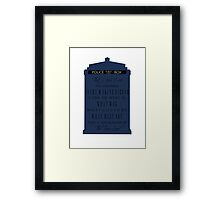 The Burden of the Time Lord Framed Print