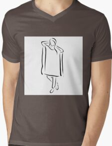 Girl posing in fashionable outfit  Mens V-Neck T-Shirt