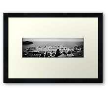 Dubrovnik Old City Panorama - BW Framed Print