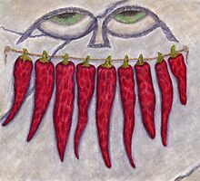 Dried Pepper Smile - Watercolor Pencil Drawing by M Rogers
