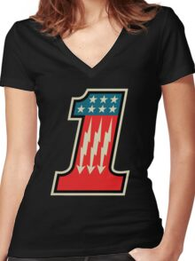 Cool Number One 1 Women's Fitted V-Neck T-Shirt