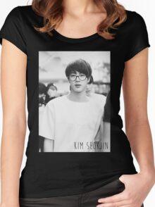 BTS/Bangtan Sonyeondan - Black & White Jin Women's Fitted Scoop T-Shirt