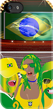 Brazil Football Fan Club  iPhone 5 Case / iPhone 4 Case  by CroDesign