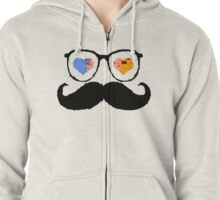 Funny Mustache Zipped Hoodie