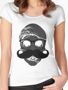 Skull mustache glasses Women's Fitted Scoop T-Shirt