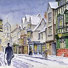 An Edwardian winter scene in Oxford. by Mike Lester