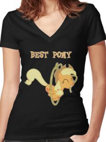 Applejack Lasso Trick With Text Women's Fitted V-Neck T-Shirt