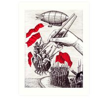 Revolutionary Sushi surreal pen ink and pencil drawing Art Print
