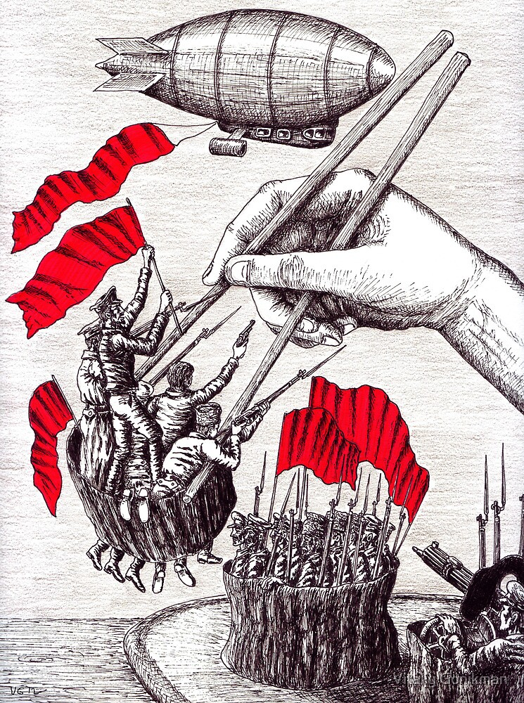 Revolutionary Sushi surreal pen ink and pencil drawing by Vitaliy Gonikman