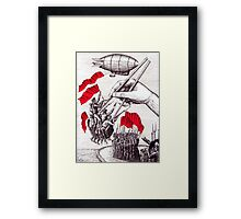 Revolutionary Sushi surreal pen ink and pencil drawing Framed Print