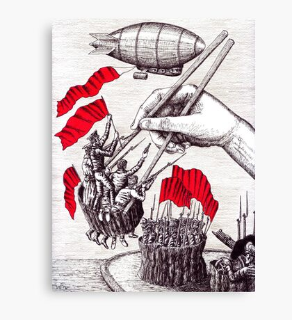 Revolutionary Sushi surreal pen ink and pencil drawing Canvas Print