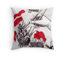 Revolutionary Sushi surreal pen ink and pencil drawing Throw Pillow