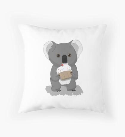 Koala and Cupcake Throw Pillow