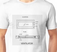 Diagram of a ventilator showing plan and elevation  Unisex T-Shirt