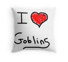 i love goblins halloween Throw Pillow