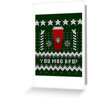 Parody - Starbucks Cup - Ugly Christmas Sweater Greeting Card