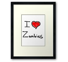 i love halloween zombies Framed Print