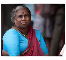 Woman With Red Bindi Poster