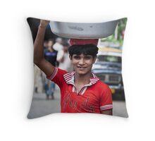 Boy With Tub Throw Pillow