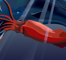 Giant Squid and Sperm Whale Sticker
