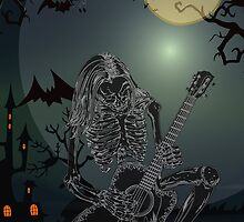 Halloween Skeleton Guitarist  Singer iPhone 4 / iPhone 5 Case / Samsung Galaxy Cases  by CroDesign