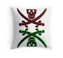 skull pirate vintage wash Throw Pillow