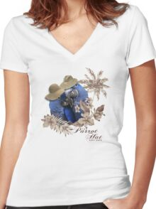 parrot in a hat 8 Women's Fitted V-Neck T-Shirt