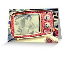 Corvette Girl on the TV Greeting Card