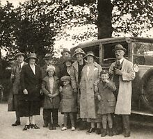 Family Portrait With Car 1923 by Robert Phillips