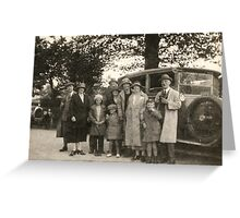 Family Portrait With Car 1923 Greeting Card