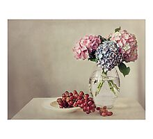 Still life with grapes and hydrangea Photographic Print
