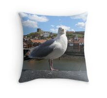 Seagull posing in Whitby Throw Pillow