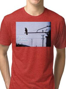 Greetings from Australia - Bird and Hills Hoist Sillhouette Tri-blend T-Shirt