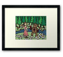 Teddy Bear And Bunny - Please Take It Framed Print