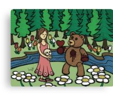 Teddy Bear And Bunny - Please Take It Canvas Print