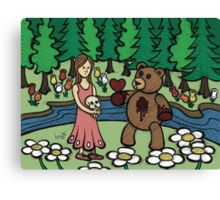 Teddy Bear And Bunny - Please Take It Canvas Print