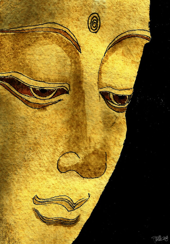 Buddha Watercolour & Ink Painting by joelwilluk