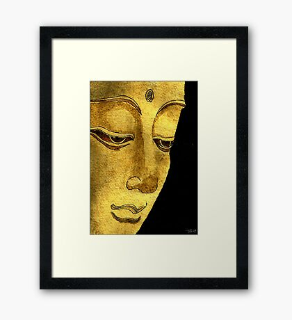 Buddha Watercolour & Ink Painting Framed Print