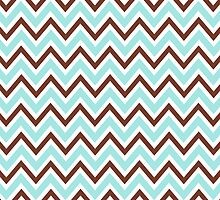 Pale teal aqua blue and brown chevron zigzag pattern chic girly iPhone case by Mhea