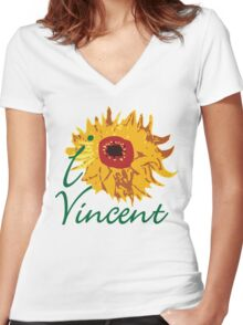 I LOVE VINCENT VAN GOGH T-shirt Women's Fitted V-Neck T-Shirt
