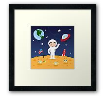 Friends in space cute cartoon wall art with boy astronaut and friendly aliens Framed Print