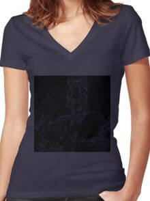 Uneven developed Church in blue and black Women's Fitted V-Neck T-Shirt
