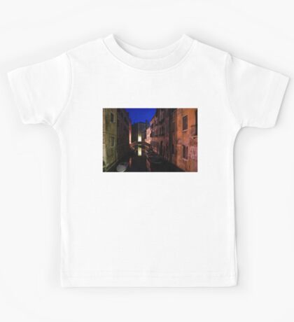 Venice, Italy - Nightscape on a Small Canal Kids Tee
