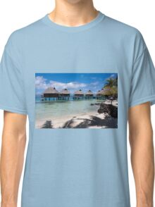 bungalows on stilts at a resort hotel Classic T-Shirt