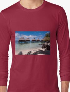 bungalows on stilts at a resort hotel Long Sleeve T-Shirt