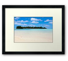 Tropical beach with palm trees and blue water Framed Print