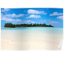 Tropical beach with palm trees and blue water Poster
